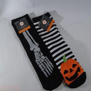Halloween Socks-2 pr-Striped Pumpkin, Blk Skeleton